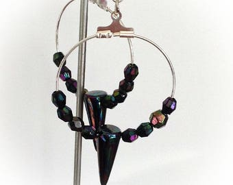 Earrings, hoop, iridescent beads, purple, blue and green hues.