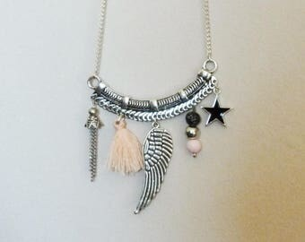 Necklace long bib pink/black with beads, tassel charms