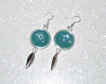 Earrings ' earrings Silver 925 leaf and glitter emerald green painted cabochon