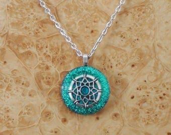 Turquoise/Silver Dream-catcher Chakra-Tuning Ormus Orgone 27mm Unisex Pendant Necklace harmonizing crystals