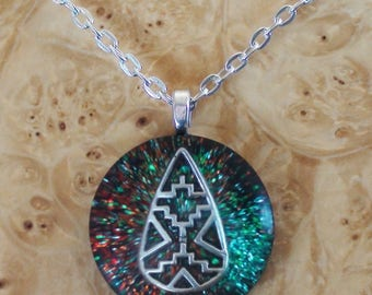 Cosmic Shaman Zuni Rain-drop Turquoise/Red Soul Antennas Chakra-Tuning Crystal Ormus Orgone-Energy 25mm Unisex Pendant Necklace Aztec/Hopi