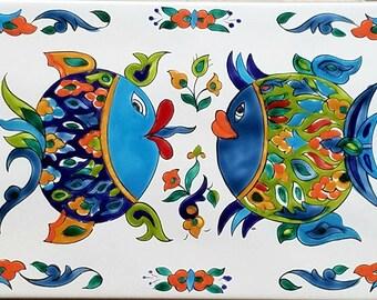 Big Love , Handmade ,hand painted tile.