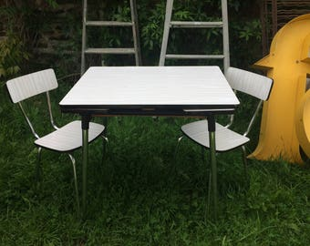 Retro kitchen dining table and chair set
