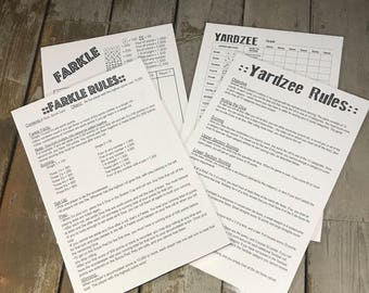 JUMBO 11x17 laminated reusable double sided Yardzee & Farkle scorecard with rules