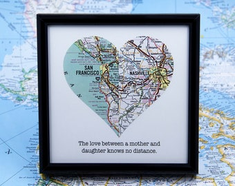 Long Distance Mom, Mom Distance Quotes, Mom From Son Gift, Map Heart, Mother Daughter Map, Mothers Day Map, Mom Birthday Gift, Distance Gift