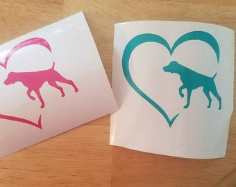 German Shorthaired Pointer heart decal.
