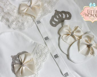 Infant Baby Girl White Lace Romper Onesie Jeweled Crown Layette Hat Gloves Set