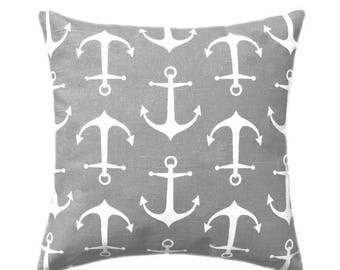 SALE Nautical Pillow Covers, Small Anchors Throw Pillow, Sailor Ash Grey Nautical Throw Pillow Cover, Grey and White Anchors Pillow, Beach D