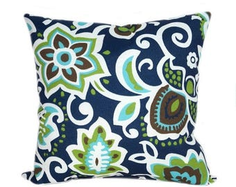 SALE Floral Outdoor Pillow Cover, Navy Green Aqua Pillow Cover, Faxon  Oxford Navy Outdoor