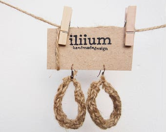 twine earrings, for women, gift original, made by hand