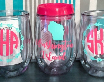 Insulated wine glass, wine sippy cup, stemless acrylic wine tumbler, party favor, wedding planning, 21st wine tumbler, bev2go, girls night