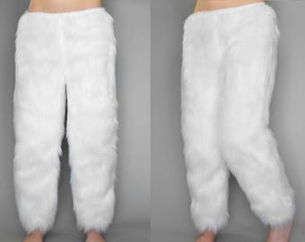 White Fur Pants, Furry Costume Pants, Faux Fur Pants, Krampus Costume, Fur Costume Pants, White Fur Pants, Christmas Gift For Wife