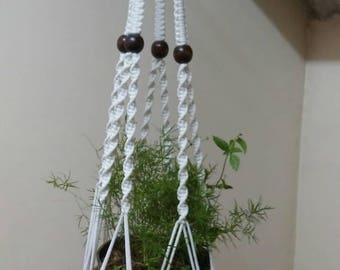 White Polycord Macrame plant Hanger pot hanger hanging planter indoor outdoor Birdfeeder garden accessory