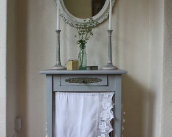 Pretty Vintage French Washstand or Side Table in Paris Grey with Ornate Single Drawer and White Cotton Veils