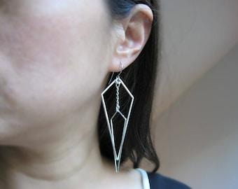 Geometric Statement Earrings - modern minimalist silver kite, long edgy earrings - Interlocking Arrows (Down)