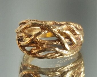 ON SALE 10K Solid Yellow Gold Handcrafted Nature Tree Ring Band Retro Vintage