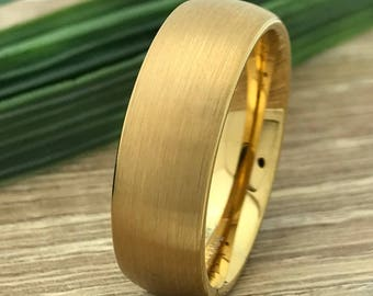 8mm Tungsten Ring, Personalized Custom Engrave Tungsten Wedding Ring, Yellow Gold Plated Wedding Ring, Comfort Fit