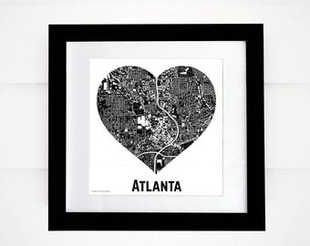 City Heart Map, Many Cities and Colors Available!