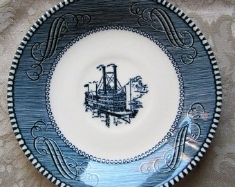 Royal China Currier & Ives Saucer (blue)