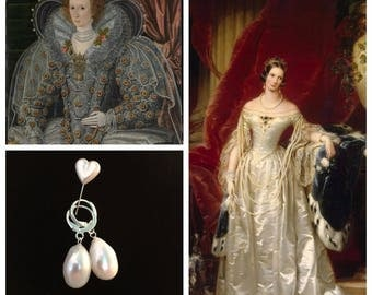 Pearl Earrings, Real, Pair of reproduction late 18th century FRESHWATER pearl earrings, New, lovely glowing teardrop REAL pearl e