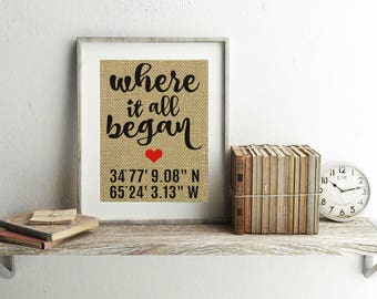 Where It All Began Burlap Print - Where It All Began Sign With Coordinates - Coordinates Print - Gift For Couple - Gift For Girlfriend