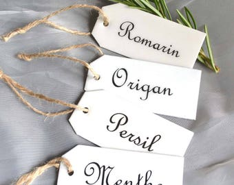 Set of 4 Vintage French White Enamel Garden Herb Tags Plant Labels Signs Markers Gardeners Gift