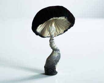 white-black-red mushroom, fiberart, soft sculpture,