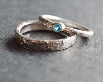 Partner-rings set: 1xBandring + 1 x stone ring (925 Silver)