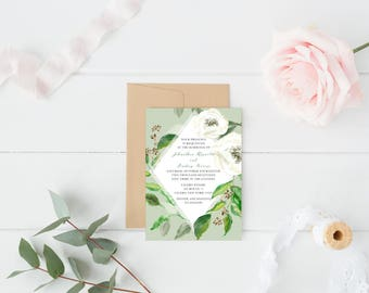 Green Leaves Wedding Invitation - Green and White - Watercolor Green Leaves - Printable Invitation - Digital Invitation