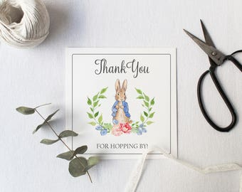 Peter Rabbit Favor Tag, Thanks for Hopping By, Peter Rabbit Birthday, Digital Favor Tag, Watercolor Peter Rabbit Birthday, Party Favor, DIY