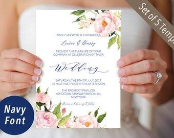 Set of 5 Printable Peony Wedding Invites, Wedding Invitation Templates, Rustic Floral Wedding Suite, Editable PDF Instant Download #118