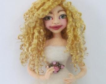 Doll Hair, Wensleydale Locks, Curly Locks, Soft Blonde, Reroot doll hair, BJD hair, Hand Dyed Doll Hair, Blonde, Listed for 1/2 oz