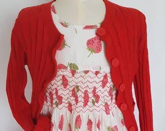 Beautiful strawberry print cotton hand smocked dress - size 5