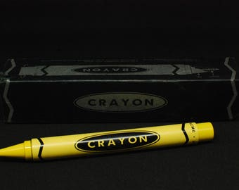 New Yet Vintage Acme Studios Yellow Crayon Shaped Rollerball Pen- Unique Gift- In Original Box-Never Used- 90s Memorabilia- Vintage Pen