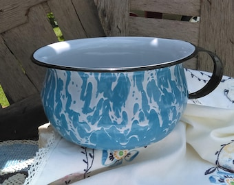 Rare Vintage Blue & White Swirl Enamelware Chamber Pot with Black Trim and Handle