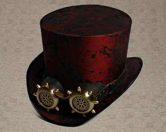 Top Hat with Goggles Marsala Top Hat with Goggles Mad Hatter Hat Mens Hats Womens Hats Steam Punk Top Hat Personalized Hat Cosplay Top Hat