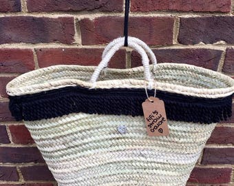 Large Fringed French Market, Tote Shopper Bag Moroccan