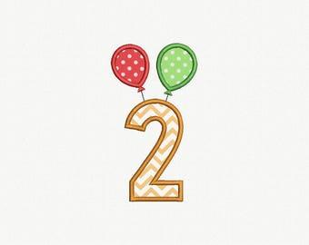 2 Birthday Balloons Applique Machine Embroidery Design - 1 Size