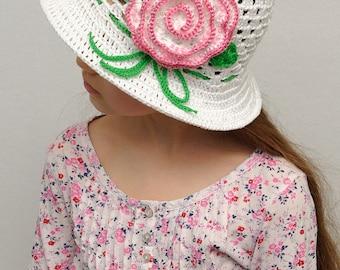 crochet girls hats photo props Floral Crochet sun hat Girls sun hat Girls summer hat brim hat Beach hat girls accessories crochet hats girl