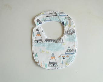 "Bib of birth ""tipi"" in cotton and sponge size birth to 12 months baby boy birth gift"