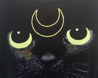 Luna Embroidered Pullover   Sailor Moon   Cat     Anime   Crop Sweater   Sweatshirt   Gift Idea   Comic