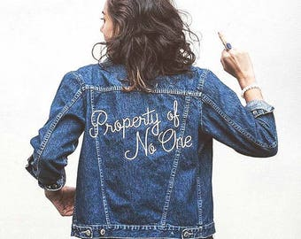 Embroidered Denim Jacket   Made to Order   Vintage   Oversized   Property of No One   70s   80s   Girlboss   Feminist   Eco Fashion