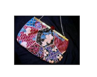 Vintage floral velvet clutch-nice flower purse bag