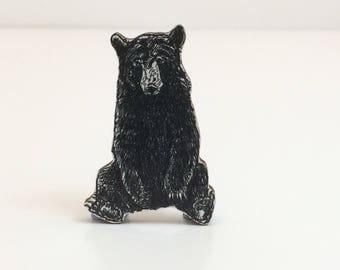 Black Bear Wooden Brooch