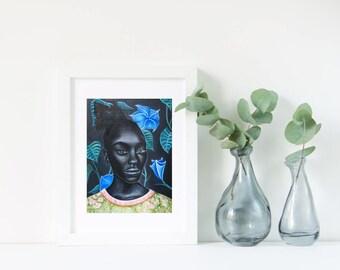 Midnight Moonflower Portrait- Art Print