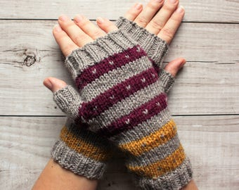 handknit woolen gloves, fingerless mittens, beige purple and yellow stripes, driving gloves, winter mittens
