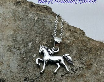 Horse necklace - solid sterling silver horse charm necklace - equestrian pendant - horse jewelry - trotting horse - horse riding - dressage
