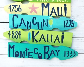 Custom Mile Marker Sign.Personalized Beach Sign.Favorite Places Sign.Destination Sign.Five Plank Directional Sign.Yard Sign.Vacation Sign