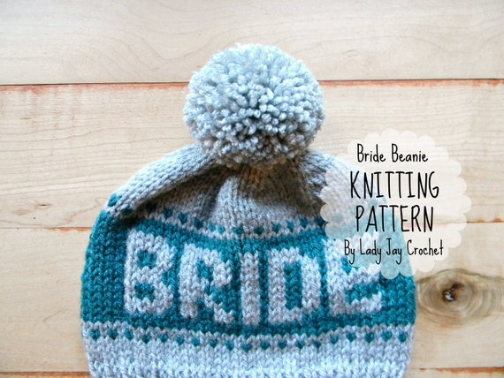 PATTERN: Bride Beanie Knit bride to be hat modern fair