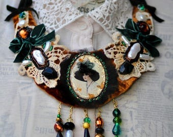 "Necklace Vintage from velvet and lace ""Thoughts of Love with a scent of cinnamon"""